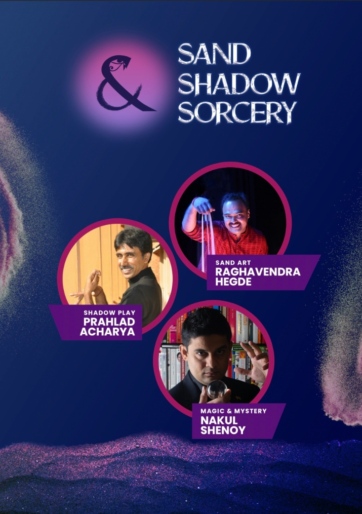 Poster for Sand Shadow Sorcery - featuring Prahlad Acharya, Raghavendra Hegde, & Nakul Shenoy